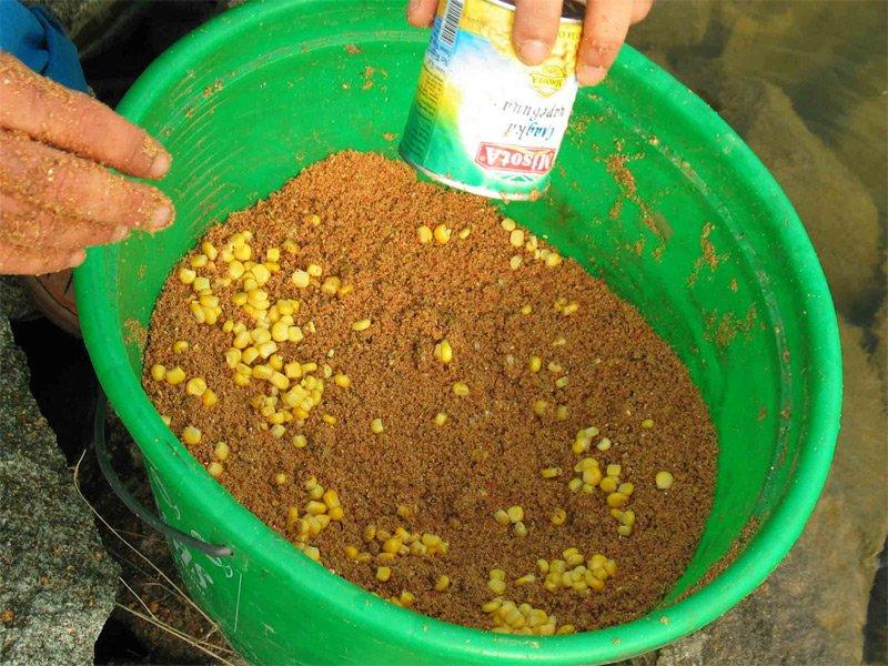 Прикормка с добавлением пареной кукурузы