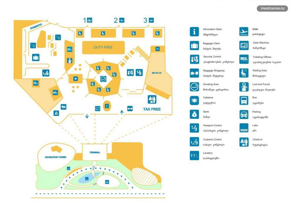 Карта аэропорта Кутаиси