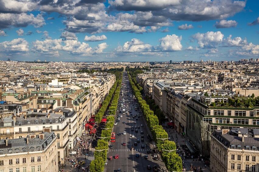 Улица Елисейские поля во Франции