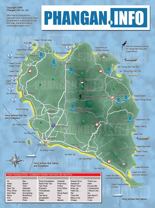 Карта острова Панган